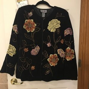 NWT Med Indigo Moon embroidered & beaded jacket